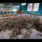 A floor full of children's respirators was found at the school in Pripyat. 