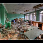 A classroom at a school in Pripyat shows how everything was left as is on the night of the accident. 