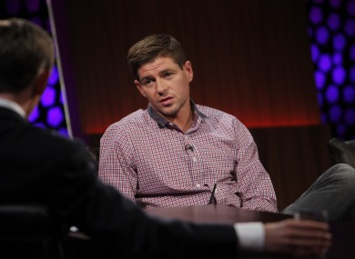 Gerrard talks to presenter Ryan Tubridy yesterday.