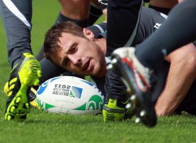 Tommy Bowe takes a breather beneath a ruck