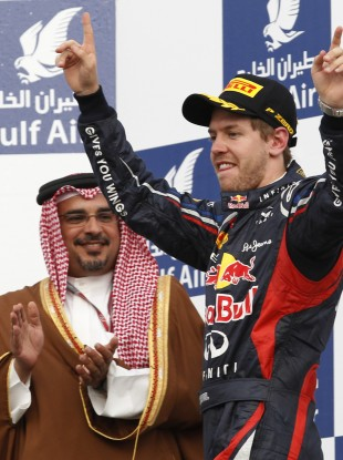 Sebastian Vettel celebrates his win in Bahrain