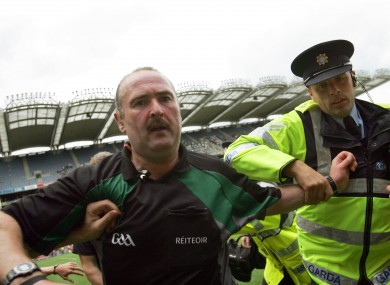 Martin Sludden is escorted off the field at the end of the 2010 Leinster final