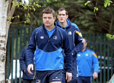 Brian O'Driscoll leads Devin Toner at Leinster training today.