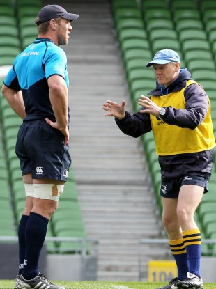 oe Schmidt with Brad Thorn at the Aviva Stadium this morning. 
