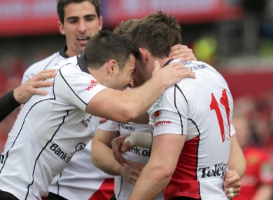 Craig Gilroy celebrates the game's opening try with his Ulster team-mates.