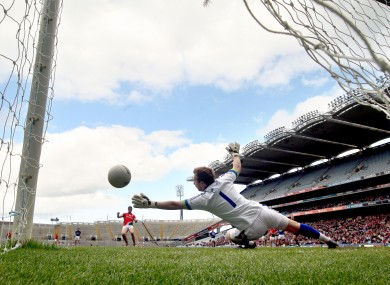 Mayo's Patrick Harte scores against Kerry from a penalty.