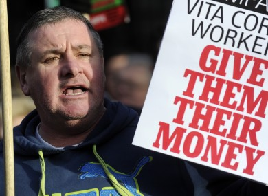 Pat Gorman from Cork shows his support for Vita Cortex workers at a public rally outside Leinster House in January