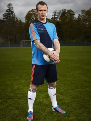 Glenn Whelan sporting the new adidas Predator® Lethal Zones football boot at Carton House, Maynooth yesterday.