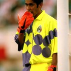 Jorge Campos could have an entire Top 10 dedicated to him. The Mexican goalkeeper designed many of his kits. Eye-popping, luminous colours were big in the 1990s. (Matthew Ashton/EMPICS Sport)
