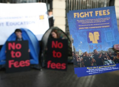 File photo of a USI 'no fees' protest.