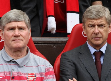 Arsenal's manager Arsene Wenger (right) and Pat Rice on the touchline.
