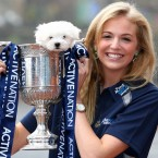 Miss Scotland Katharine Brown with her poodle in a cup...