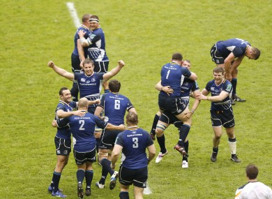 Leinster celebrate at the final whistle.