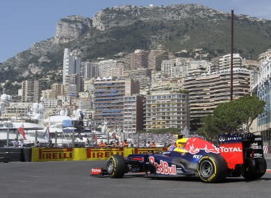 Mark Webber cruises through the street circuit in Monte Carlo.