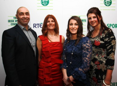 Katie Taylor with her father Peter, mother Brigid and sister Sarah.