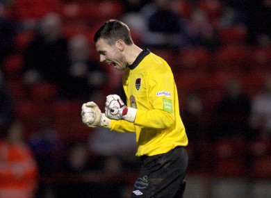 Cork City goalkeeper Mark McNulty celebrates their second goal against Shelbourne.