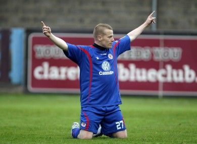Sligo Rovers' Danny North celebrates scoring.