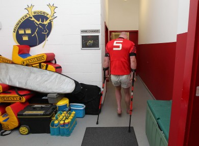 Ouch: Paul O'Connell hobbles away after injuring his ankle against Munster.