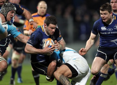 Fergus McFadden is tackled in action against the Ospreys in March.