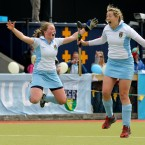 Brenda Flannery and Jeamie Deacon of UCD celebrate winning Irish Senior Cup Final.