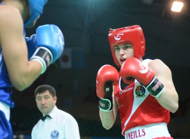 ireland's Katie Taylor in action against Rim Jouini of Tunisia.