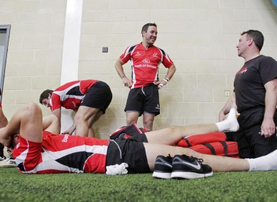 Paddy Wallace, centre, and his Ulster team-mates after training yesterday.