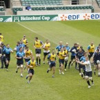 The Leinster team runs across the pitch during the Leinster Captains run (Mandatory Credit INPHO/Billy Stickland).