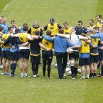 Head Coach Joe Schmidt talks to his team during the Leinster Captains run (Mandatory Credit INPHO/Billy Stickland).