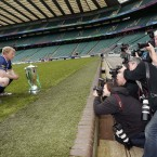 Leinster Captain Leo Cullen poses with the Heineken Cup Trophy before the Captain Run (Mandatory Credit INPHO/Billy Stickland).