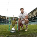 Ulster captain Johann Muller poses with the Heineken Cup Trophy before the Captain Run (Mandatory Credit INPHO/Billy Stickland).