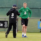 Trap offers James McClean some advice.