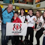 Ulster Fans leave Belfast Airport ahead of the Heineken Cup Final in London, George Best Belfast City Airport 