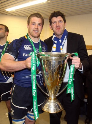 Leinster's Sean O'Brien and Shane Horgan celebrate at Twickenham.