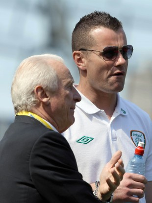 Ireland's Shay Given and manager Giovanni Trapattoni before yesterday's game.