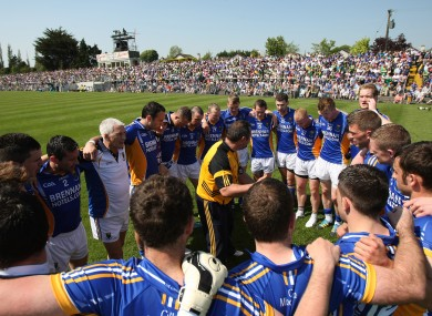 Wicklow players in a team huddle before the game.
