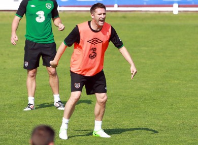 Robbie Keane during squad training yesterday.