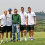 (L-R) Paul Green, David Forde, Stephen Ward and Simon Cox pose with the Mayor of Montecatini Giuseppe Bellandi (centre).