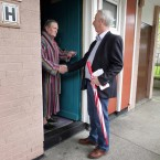 Labour TD Kevin Humphreys, right, talks to Des Redmond while campaigning for a yes vote for the Fiscal Treaty Referendum 