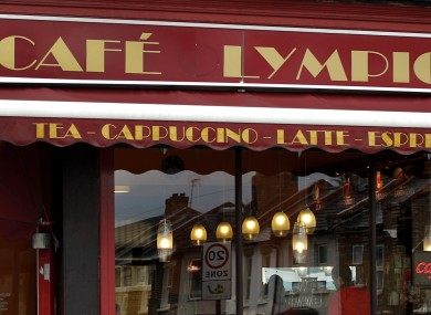 The facade of the Cafe Lympic is seen in Stratford, east London.
