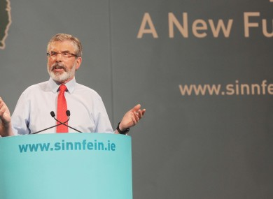 Gerry Adams addresses delegates at his party's Ard Fheis in Kerry this evening.