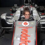 Rebecca Stapleton, 20, from Shankill sits in Jenson Button's F1 car