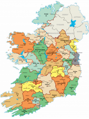 Ireland's 43 constituencies will become 40 under the new electoral regime.