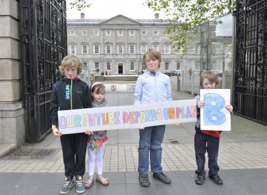 Luke O'Brien, 8, Faye O'Brien, 5, Rickard Donovan, 8, and Will Donovan, 6, at the launch of the Plan B campaign outside Leinster House yesterday.