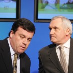 Brian Lenihan while children's minister in 2007, with then Taoiseach Bertie Ahern. Ahern famously overlooked Lenihan for promotion on several occasions.