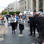 Anti-austerity protesters use the day for a themed protest.