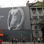 The, er, eye-catching Abercrombie & Fitch poster on a building in College Green, Dublin, where the compnay plans to open a shop over three-storeys. (Sam Boal/Photocall Ireland)