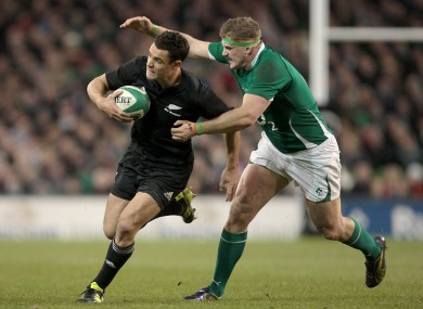 Carter tries to escape the attentions of Jamie Heaslip in 2010.