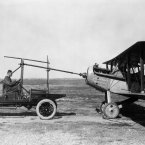 1926: A modified Model T Ford with Huck starter attached to a Vought VE-7 plane at Langley in October 1926. (NASA Archives)