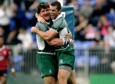 Shane Horgan and Rob Kearney celebrate a Leinster try in 2008.