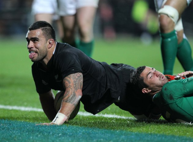 Liam Messam scores a try despite Rob Kearney  23/6/2012